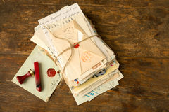 Wax seal and vintage letters Royalty Free Stock Photo