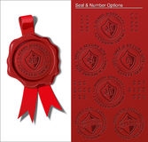Wax Seal - Warranty & Safety Seal. EPS 10 embossed wax seal. All presented options are in place on separate layers. Switch layers on and off to achieve the Royalty Free Stock Photo