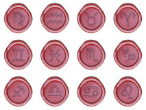 Wax seal with zodiac signs royalty free illustration