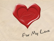 Wax sealed envelope. Seal in the shape of a heart. Kiss lip print in wax. For My Love inscription Stock Photos