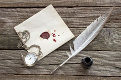 Wax sealed letter with quill Stock Photography