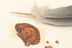Wax sealed letter with quill Royalty Free Stock Images