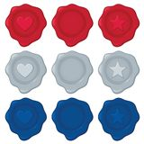 Wax Seals. Collection of nine wax seals in red, silver, and blue; each color has one blank seal for your own symbol/design. Vector file contains unexpanded Stock Illustration