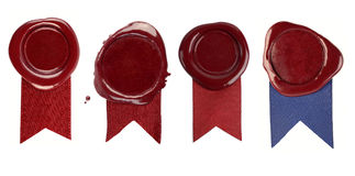 Wax seals. Set of wax seals with ribbons on white background royalty free stock images
