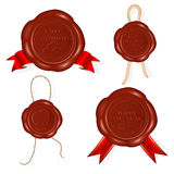 Wax seals with rope and red ribbons. Stock Photo