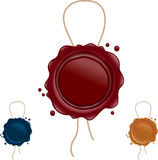 Wax seals with string Royalty Free Stock Images