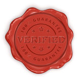 Wax Stamp Verified (clipping path included) Stock Photo
