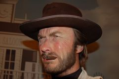 Wax statue of Clint Eastwood stock photography