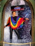 Wax Statue of Ricky Martin wearing a Pride flag at Madame Tussauds San Francisco