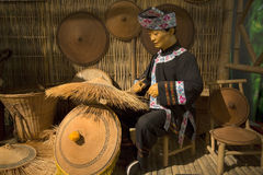 Wax about weaving  hat with bamboo Royalty Free Stock Photography