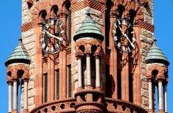 waxahachie för klockadomstolsbyggnadtexas torn Arkivbild