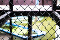 Waxed black duct steel mesh protection. Waxed black duct steel mesh to prevent danger of falling water in the sights of one of Thailand royalty free stock photo