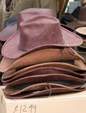 Waxed cowboy type hats for sale Royalty Free Stock Photo