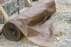 Waxed paper underlayment for concrete slab installation 2 Royalty Free Stock Photography