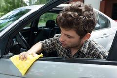 Waxing car door stock image