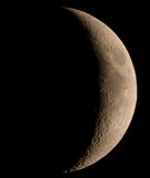 Waxing crescent moon. With Mare Crisium and Mare Fecunditatis Royalty Free Stock Photo