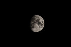 Moon - Waxing Gibbous Phase 91.8%. Our natural satellite, The Moon, photographed through a 400mm telescope, in a waxing gibbous phase. It is 91.9% illuminated royalty free stock image