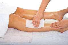 Waxing leg Royalty Free Stock Photos