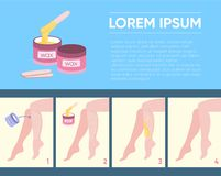 Waxing or sugaring hair removal tool. Template with scheme how to apply wax to delete unwanted hair and text layout Royalty Free Stock Photo