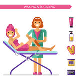 Waxing or sugaring procedure Royalty Free Stock Images
