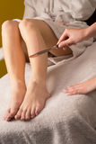 Waxing treatment at spa Stock Photo
