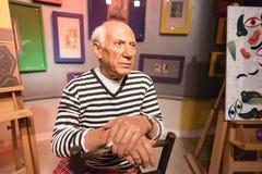 Waxwork av Pablo Picasso på skärm Arkivbild