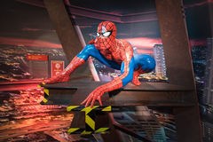 Waxwork of Spiderman on display. BANGKOK -JAN 29: A waxwork of Spiderman on display at Madame Tussauds on January 29, 2016 in Bangkok, Thailand. Madame Tussauds Stock Images