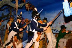 Waxwork tableau of Soldiers fighting at Battle of New Orleans stock photo