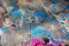 Waxy ледистая предпосылка акварели в розовых голубых серебристых цветах Стоковая Фотография