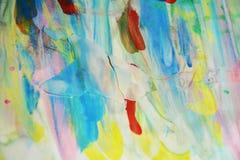 Waxy пятна и голубой, зеленый, пятна watercor желтого цвета пастельные, творческий дизайн Стоковые Фото