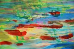 Waxy пятна и красное голубое, зеленый, пятна watercor желтого цвета пастельные, творческий дизайн Стоковые Фото