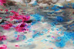 Waxy icy watercolor background in pink silvery colors Stock Photography