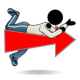 This way. Cartoon action icon of a man pointing to his right Royalty Free Stock Photography