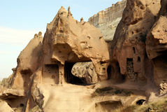The way through. Hole in the rock in Open Air museum Zelve, Cappadocia Stock Photography