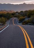On The Way. On the road sunset south mountain state park Royalty Free Stock Images