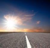 Way. Beyond the horizon. Sunset stock image