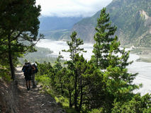 Way above Kali Gandaki river, Nepal Stock Photos
