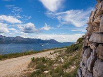 The way around the coast on Hvar island, Croatia stock photos