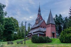 On the way through the beautiful harz at a sunny day royalty free stock photo