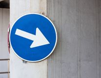 This way - blue road sign. Left Royalty Free Stock Images