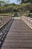 Way Bridge Wood Garden Park Long Royalty Free Stock Photo