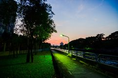 The way beside canal. This way very beautiful when after the sunset it& x27;s because of Royalty Free Stock Images