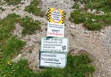 Way Closed sign at Baumenheimer Way, Austria Stock Photos