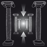 Way from crisis with ancient Greek columns Royalty Free Stock Photo