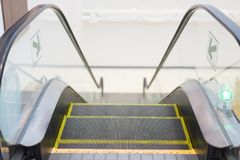 The way down of the escalator. Stock Image