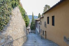 A way down from Fiesole, Tuscany, Italy stock photo