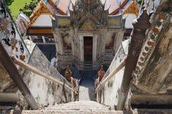 The way down from prang. Of Wat Arun in Bangkok Stock Photography