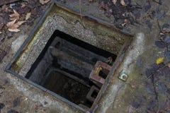 Way down into a Sewage Manhole.  Royalty Free Stock Photography