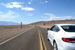 Car driving in desert California Royalty Free Stock Photo