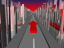 Way forward. City landscape with road and red arrow forward royalty free illustration